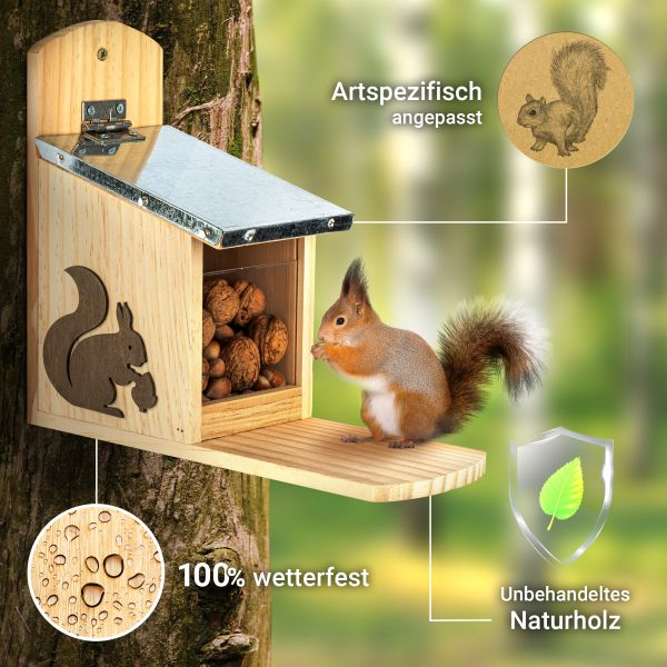 Eichhörnchen Futterstelle aus Holz | Metalldach | winterfest | nachhaltig | 1 Stück