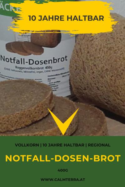 Notfall-Dosenbrot 400g Roggenvollkorn | regional | ohne Weizenmehl | 10 Jahre haltbar