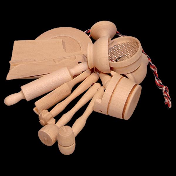 Mini Küchengeschirr für Kinder   aus Holz  nachhaltig   schadstofffrei   unbehandelt