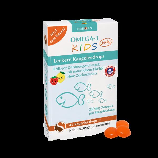 Norsan Omega-3 für Kids | Dragees/Drops zum Kauen | mit Vitamin D | 100% geprüfte Qualität | 45 Stk