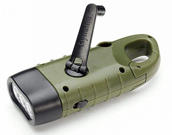 Handkurbel-Taschenlampe mit eingebautem Akku