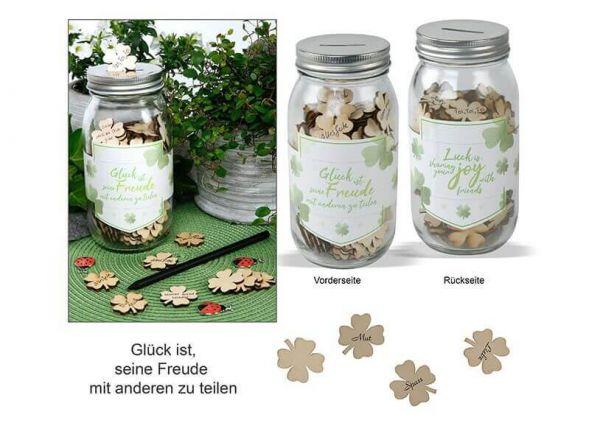 Glas voller Glück mit 120 Kleeblättern aus Holz