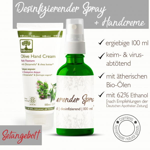 SET: Desinfizierender Spray + BIOselect® reichhaltige Handcreme [Set]