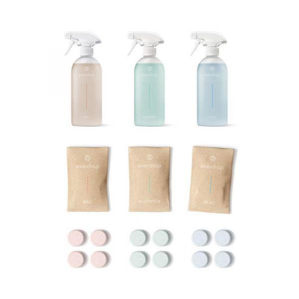 nachhaltige Putzmittel Tabs + Flaschen | everdrop | Kombi Kit - 3 Flaschen und 12 Tabs