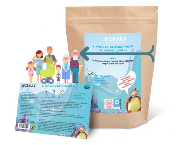 Biobaula ® Vorteilspaket Glasreiniger Öko-Tabs | biologisch abbaubar | 20 Tabs