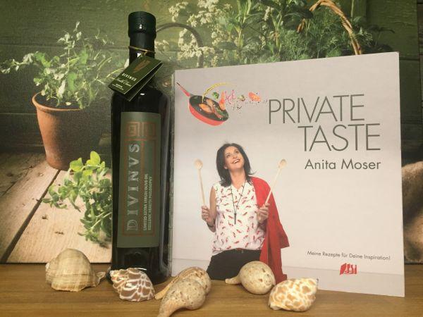 Divinus 500ml Glasflasche + Kochbuch 'Private Taste' (Ablauf August 2020)