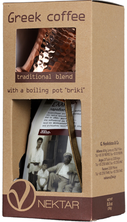 Griech. Kaffee 250 g gemahlen + Briki (griechisch. Kaffeekanne)