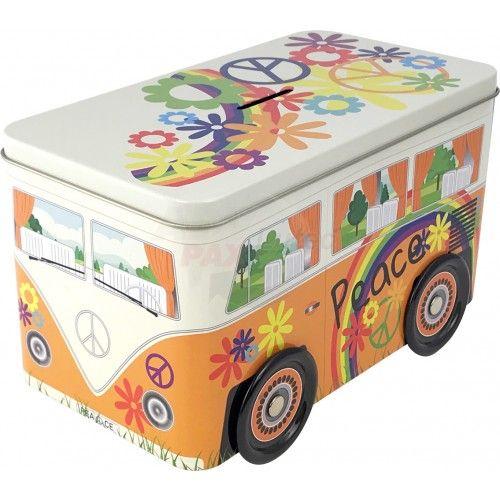 Peace Truck | Hippie Bulli | Geschenkverpackung | Spardose | Weissblech |