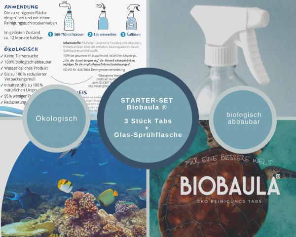 Biobaula ® Starterset Allzweck Glas-Sprühflasche 500ml mit 3x Allzweck Öko-Tab | biologisch abbaubar