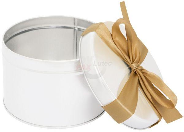 Dose weiss mit goldener Masche | Geschenkverpackung | Weissblech | 1 Stück