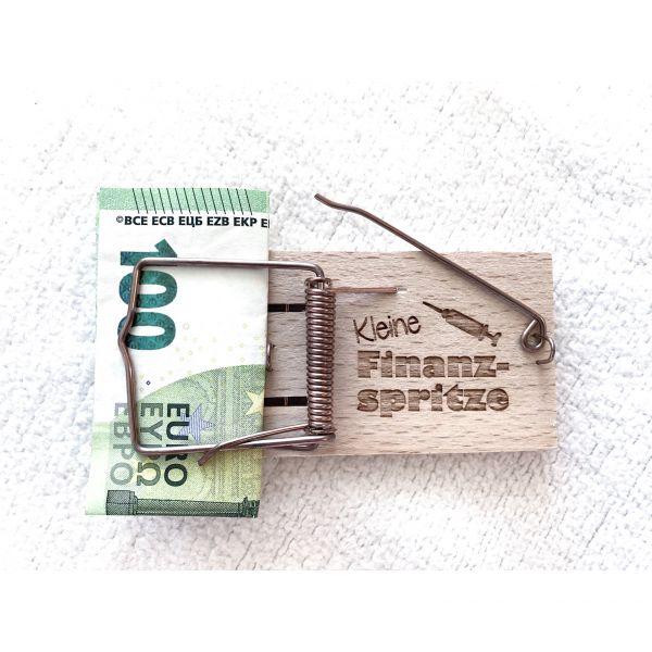 Mausefallen Geldgeschenk aus Holz | versch. Sprüche zur Wahl