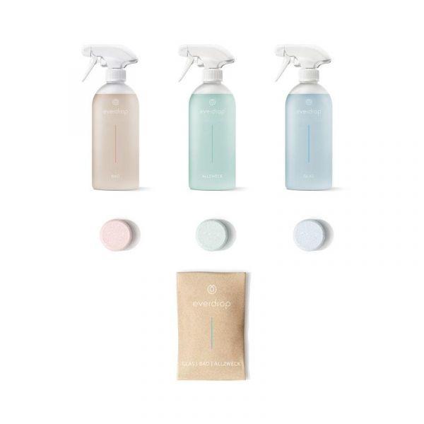 nachhaltige Putzmittel Tabs + Flaschen   everdrop   Starter Kit