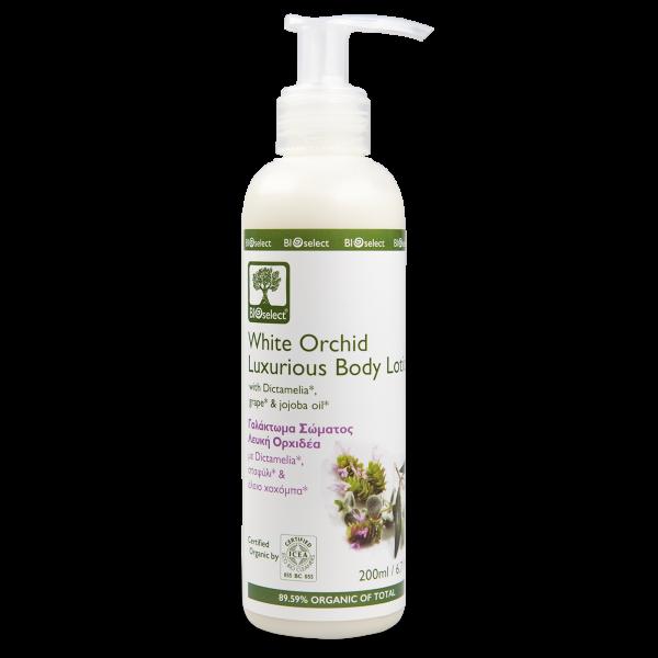 Luxuriöse Bio-Körpermilch mit weißer Orchidee im Spender