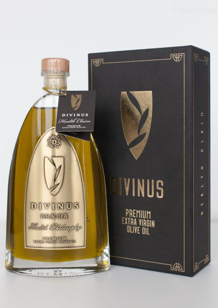 Divinus - hochpolyphenolisches extra natives Olivenöl | Ernte 2019 - 500ml Luxury Glasflasche